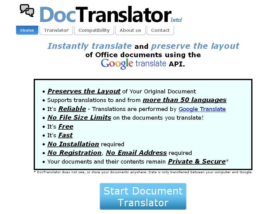 DocTranslator : Un service de traduction en ligne