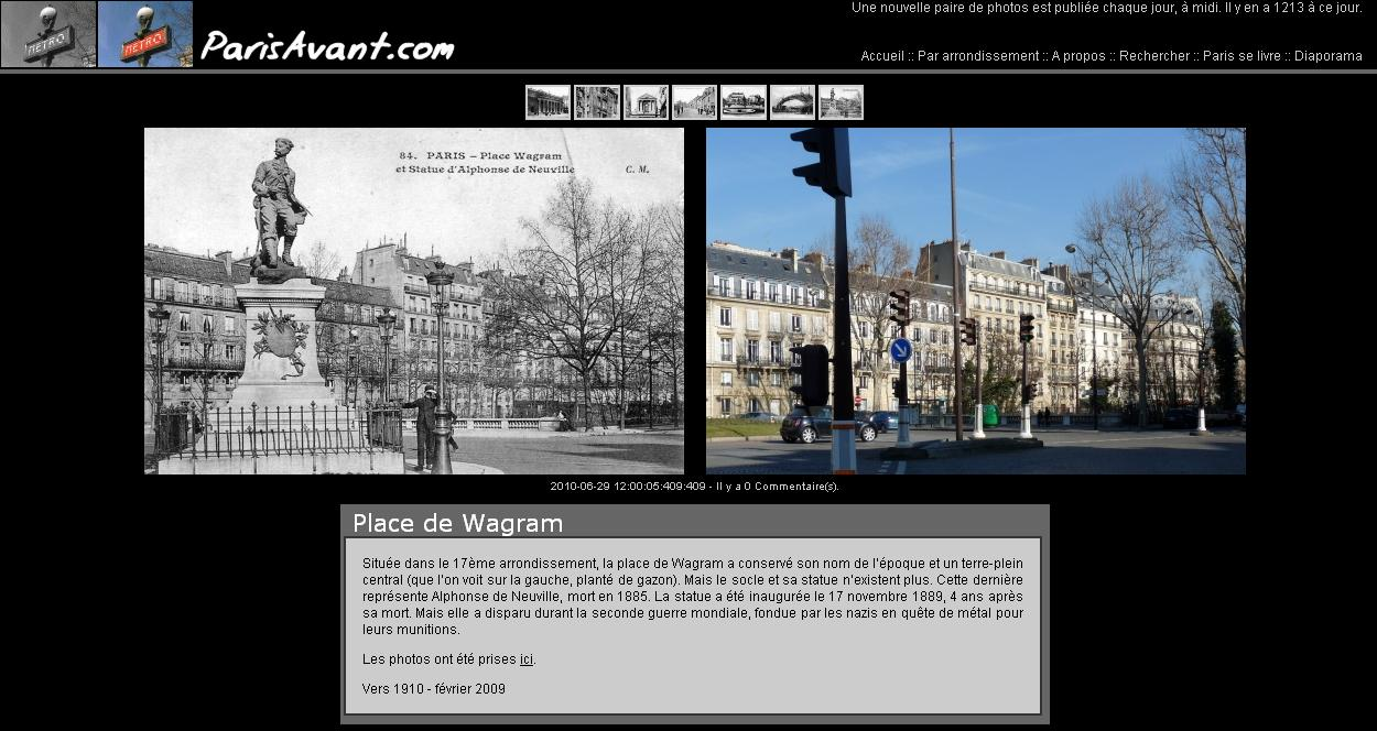 Comparaison de photos de Paris : Paris Avant