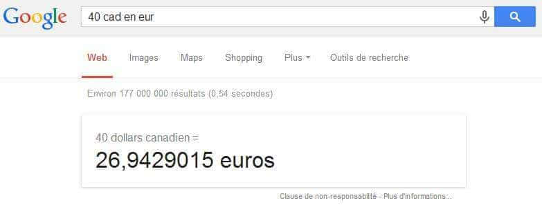 Conversion monétaire depuis Google