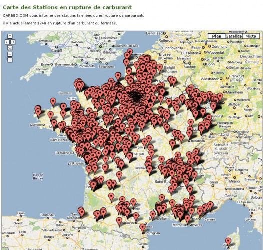 La carte temps réel des stations en rupture de carburant