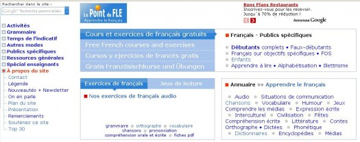Apprendre le français avec Le Point du Fle