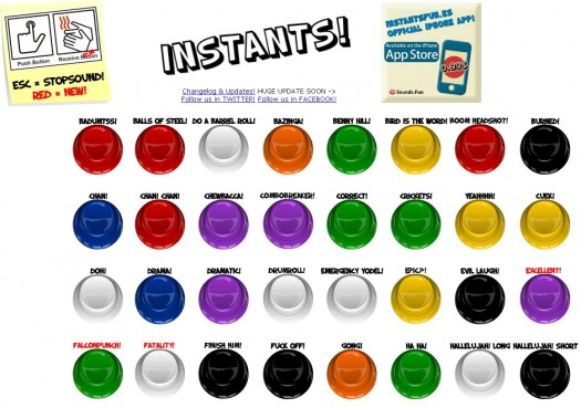 Bruitages et jingles sur une page boutonneuse très colorée