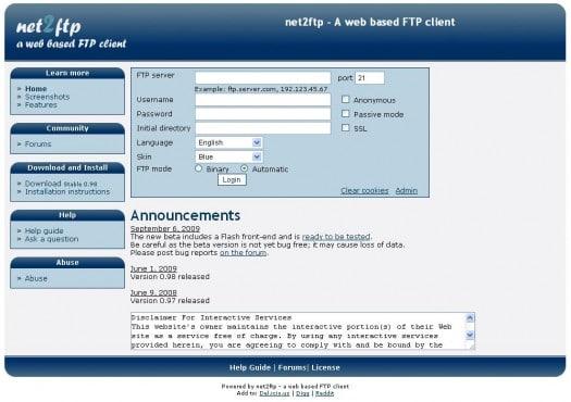 Un client FTP sur une page Web - Net2ftp