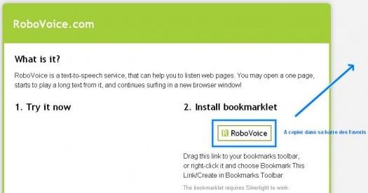 Se faire lire une page Web par un robot - Robovoice