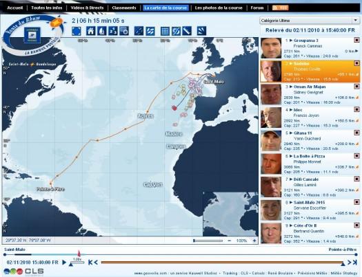 Suivre la route du Rhum sur une carte temps réel