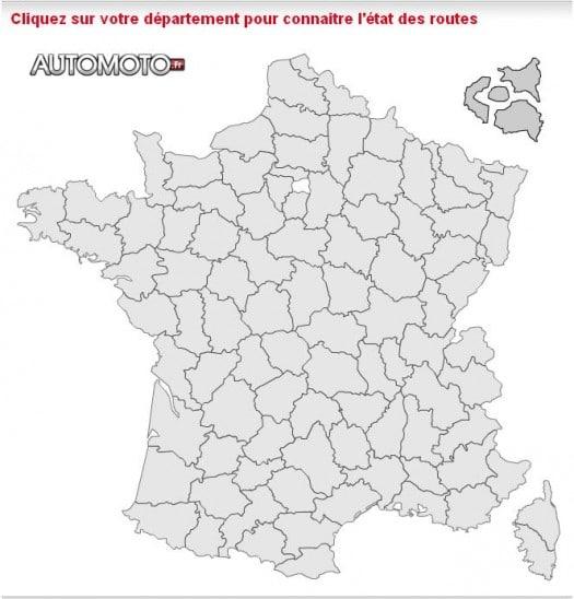 Une carte des routes enneigées