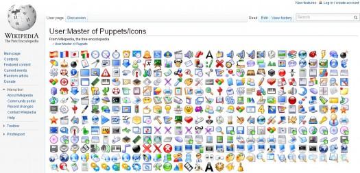 Une page Wikipédia remplie de jolies icônes