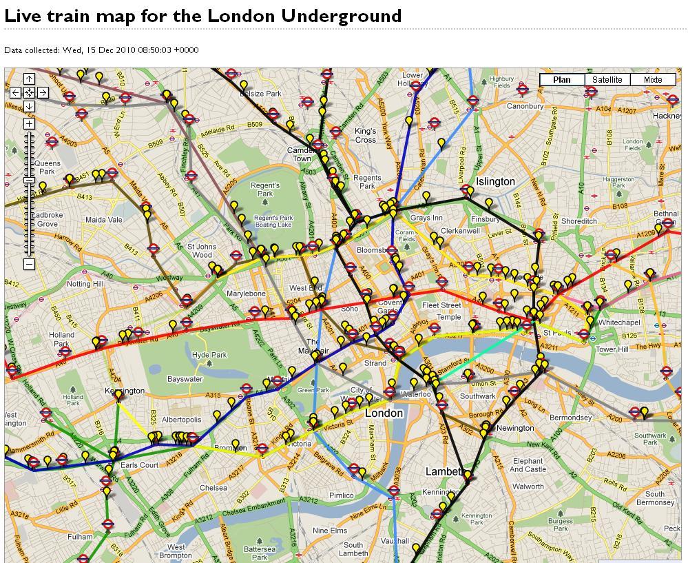 Plan du métro de Londres avec rames en temps réel – Les Infos de