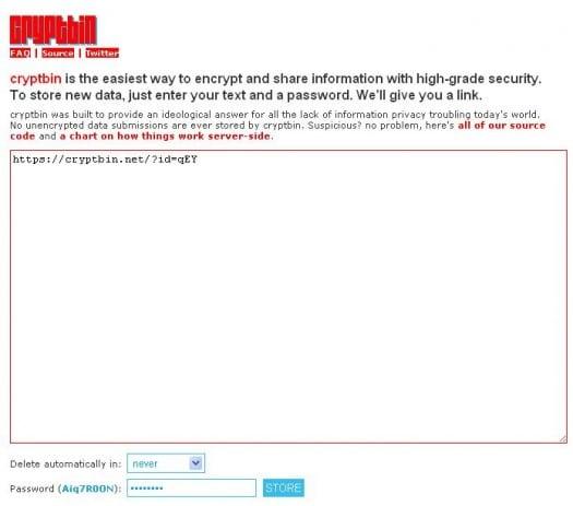 Crypter et envoyer un message via une URL - Cryptbin