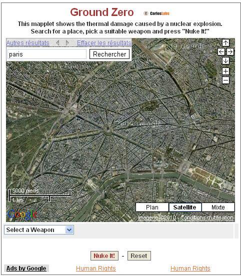 Simulation d'une bombe atomique sur votre ville