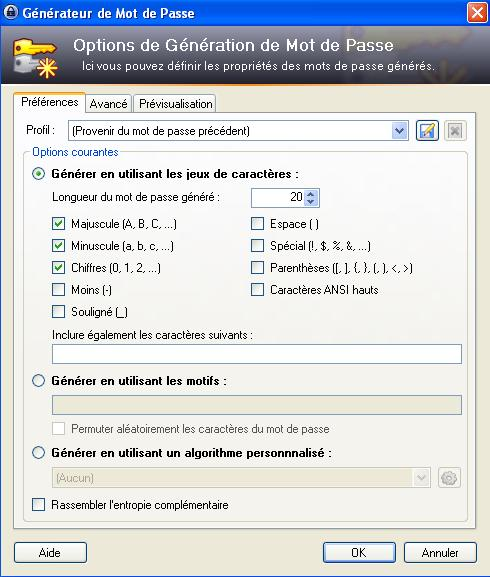 keepass-options-generateur