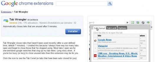 Fermer automatiquement les onglets inactifs dans Chrome