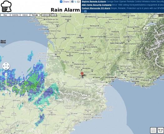 Alerte aux intempéries sur Google Maps, Rain Alarm
