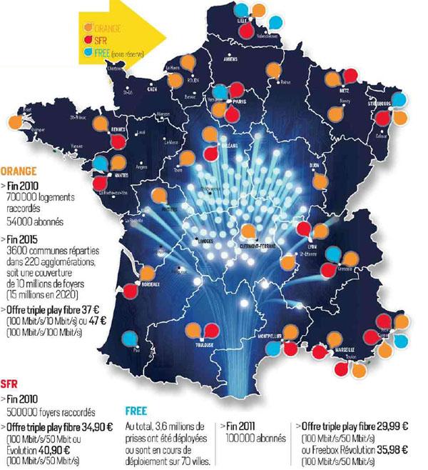 Fibre optique la carte des d ploiements pour 2011 - Fibre optique carte france ...
