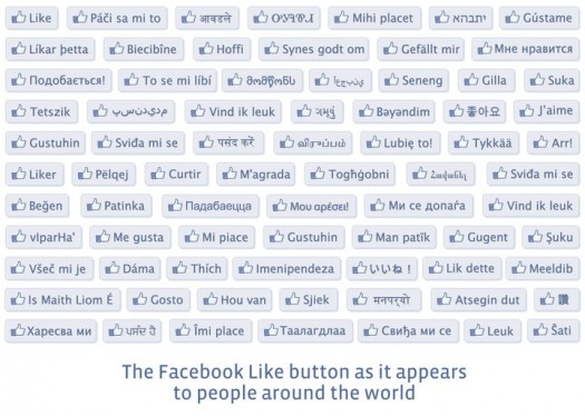 Le bouton J'aime de Facebook dans toutes les langues