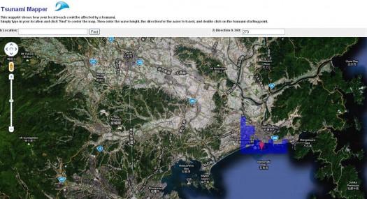 Simulation de Tsunami dans Google Maps