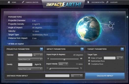 Simuler l'impact et les dégâts d'une météorite sur Terre