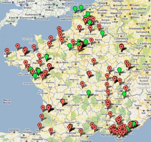 La carte Google Maps des émetteurs 3G de Free Mobile