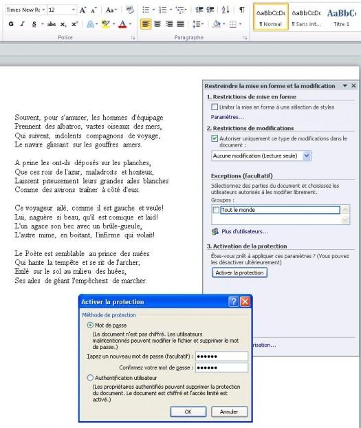 prot u00e9ger un document word des modifs avec un mot de passe