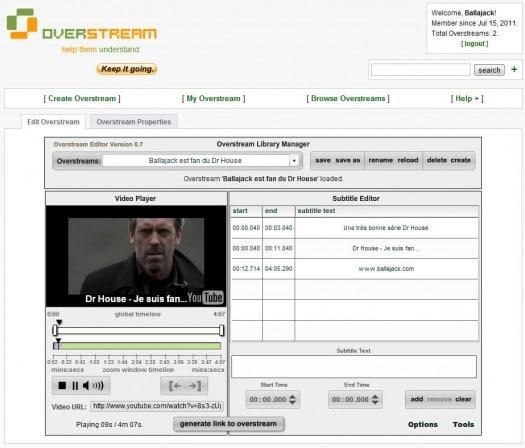 Ajouter des sous-titres à une vidéo YouTube, OverStream