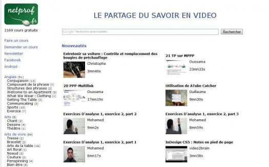 Le partage du savoir en vidéo, NetProf