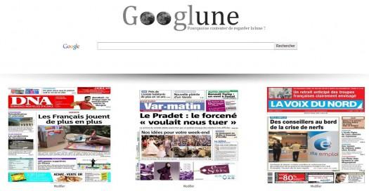 La Une des journaux en page d'accueil, Googlune