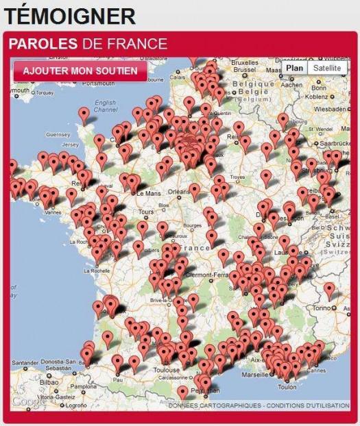 Les soutiens à François Hollande s'affichent sur Google Map