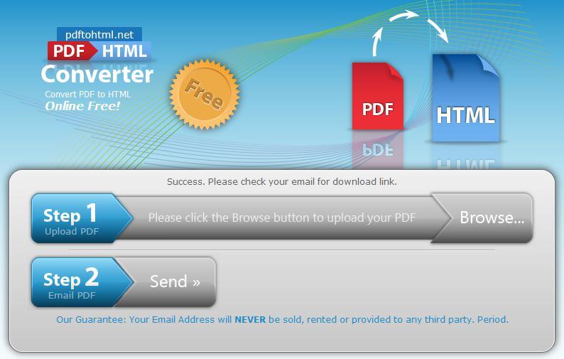 Convertir en ligne un fichier PDF en HTML, PDFtoHTML