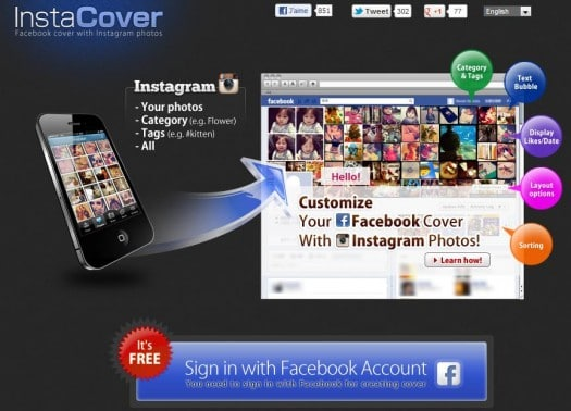 Des photos Instagram en couverture de la Timeline Facebook