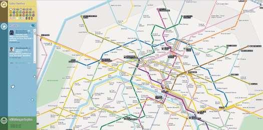Le plan du métro de Paris connecté à Twitter, Sublyn