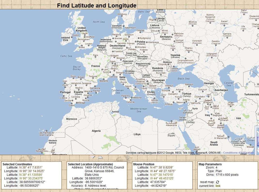 carte latitude