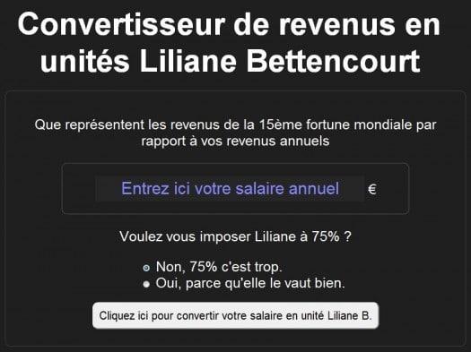 Un convertisseur de revenus en unités Liliane Bettencourt