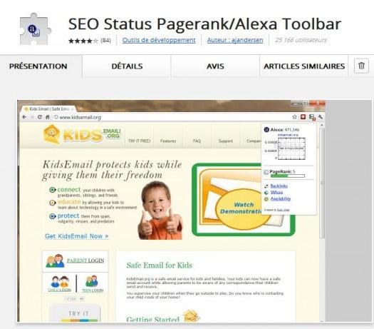 Extension Chrome pour voir le Page Rank et l'indice Alexa