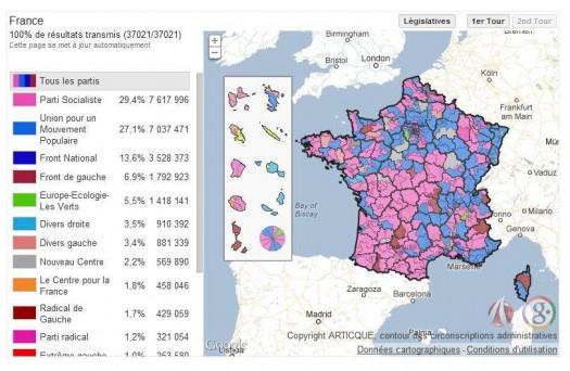 Cartographie du résultats des éléctions législatives 2012