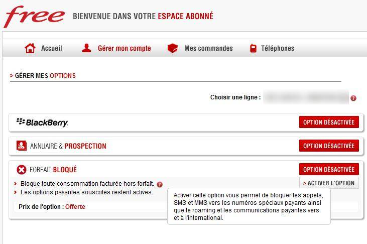 comment bloquer forfait free mobile