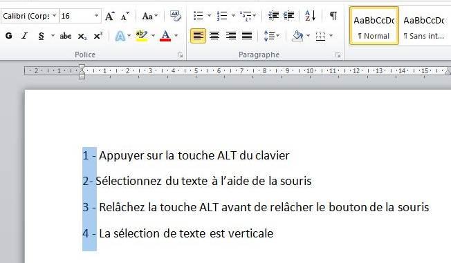 S lection verticale de texte sur word les infos de ballajack - Presse papier open office ...