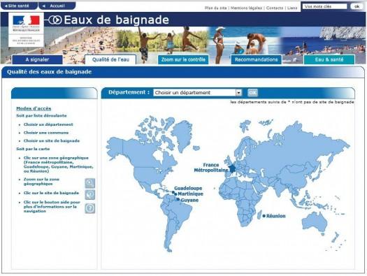 Cartographie de la qualité des eaux de baignades