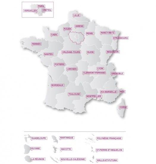 Les résultats du Bac 2012 sur une carte de France