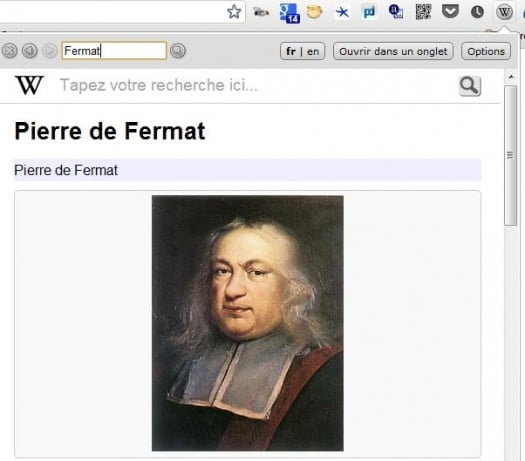 Tout Wikipedia accessible via la barre d'outils de Chrome