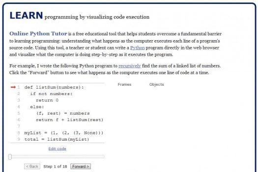 Apprendre le Python en ligne, Python Tutor