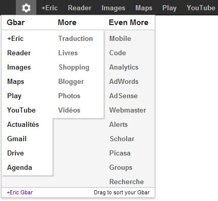 Personnaliser la barre de menus noire de Google, +You Gbar