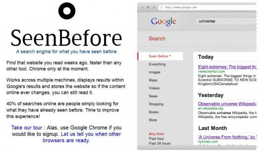 Retrouver les pages déjà vues sur Google, SeenBefore