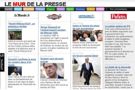 Toute la presse sur une page Web, Le Mur de la presse