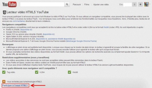 Activer le player HTML5 dans YouTube