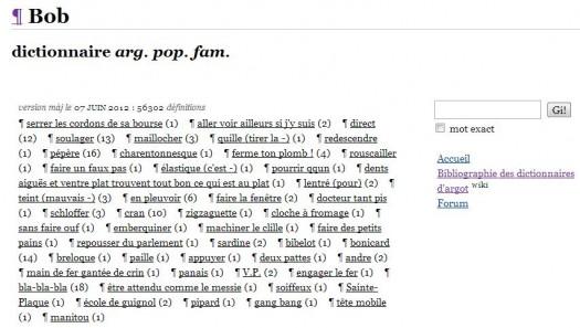 Bob, dictionnaire d'argot en ligne