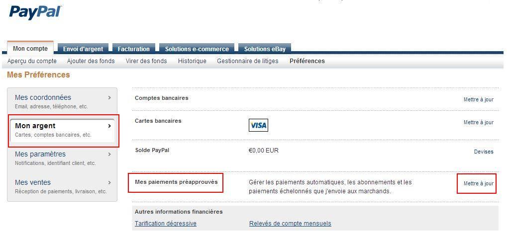 Visualiser les paiements pr approuv s sur un compte paypal - Visualiser une adresse ...