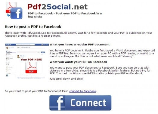 Partage de documents PDF sur Facebook, PDF2Social