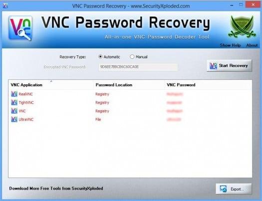 Retrouver un mot de passe VNC perdu, VNC Password Recovery
