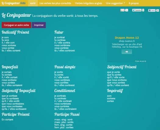 Un site pour conjuguer des verbes français, Le Conjugateur