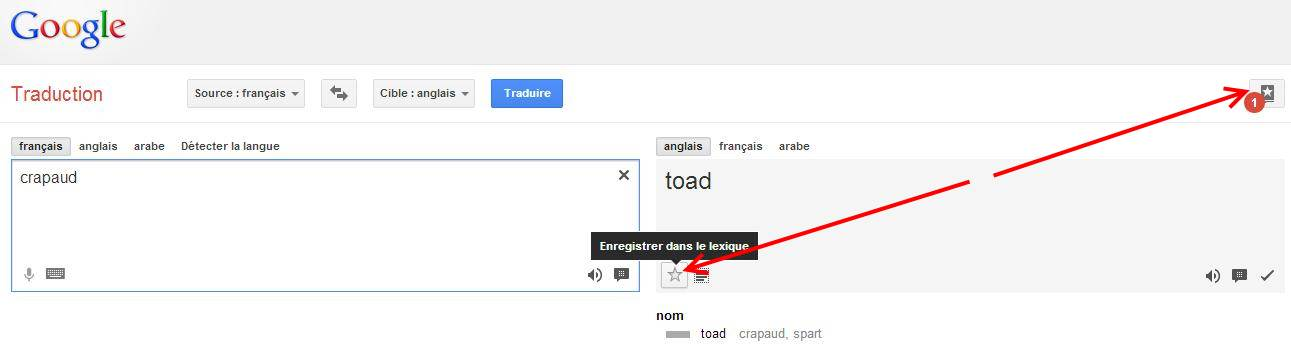 Un lexique dans Google Traduction